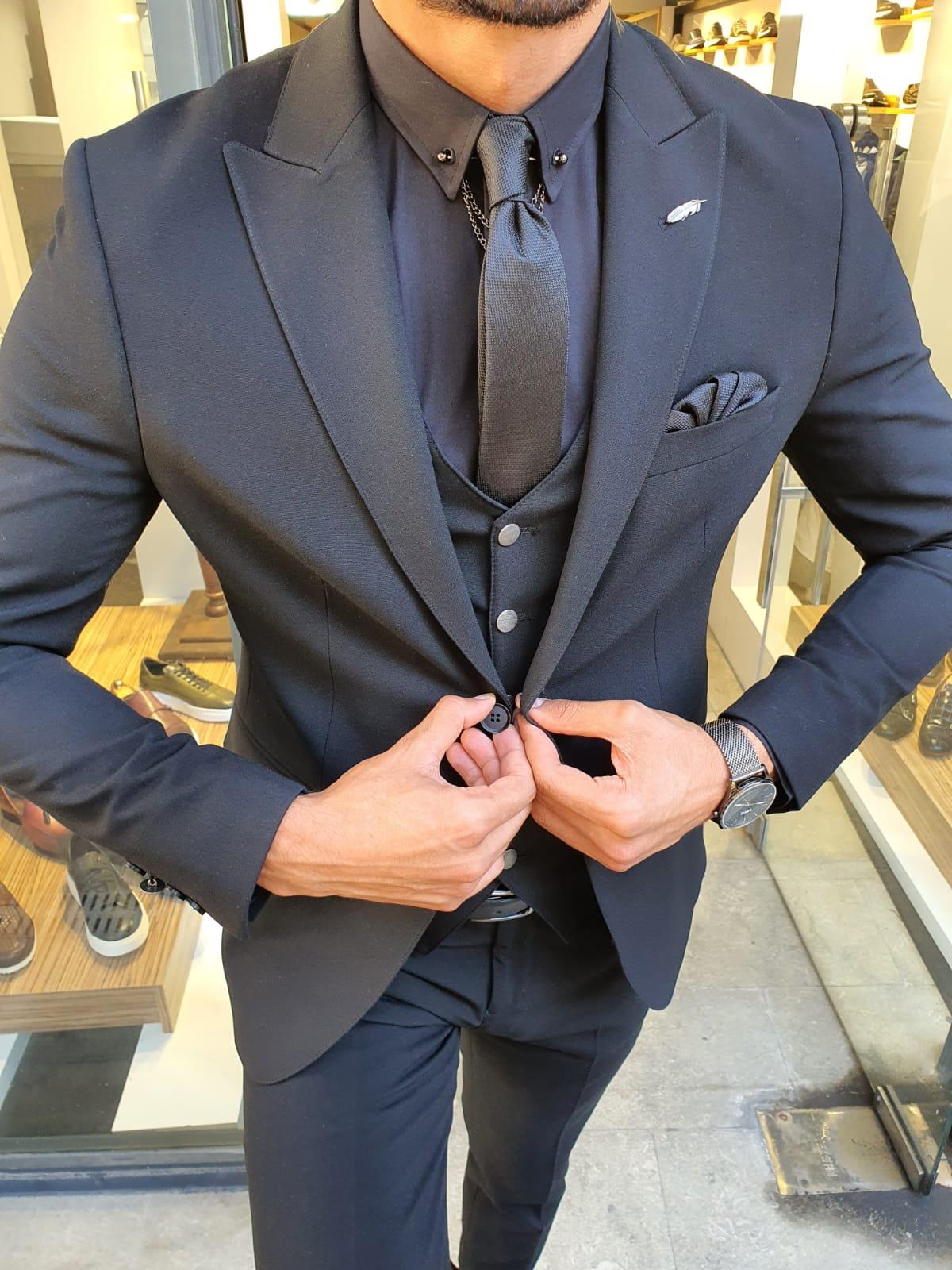 Aysoti Onyx Black Slim Fit Suit