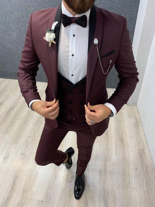 Aalvert Claret Red Slim Fit Tuxedo