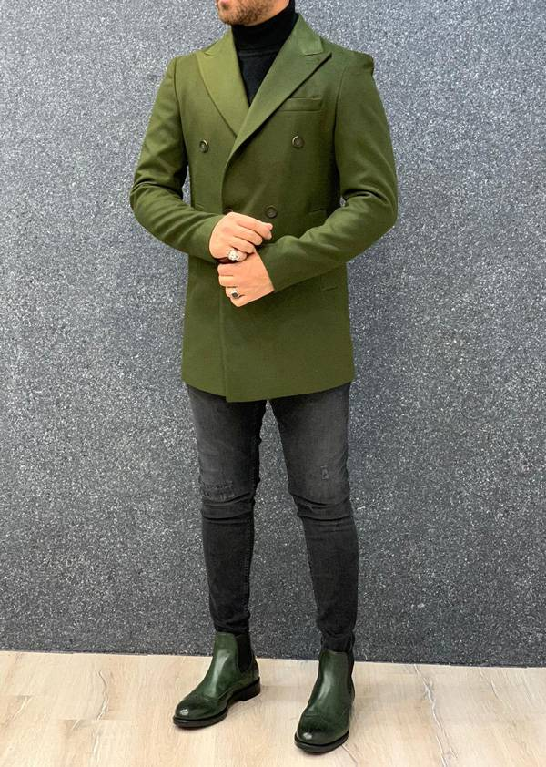 Ade Khaki Slim Fit Long Coat