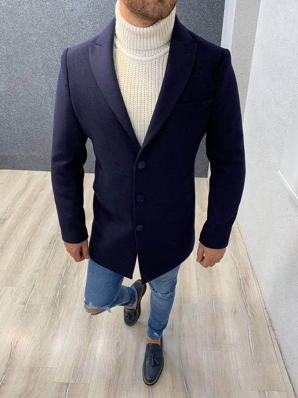 Ade Navy Blue Slim Fit Long Coat