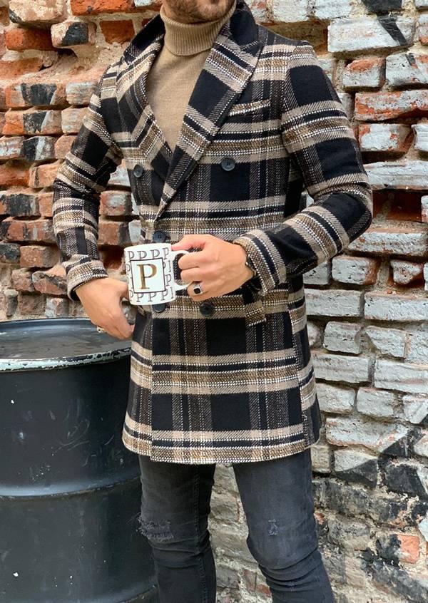 Angus Brown Slim Fit Long Coat