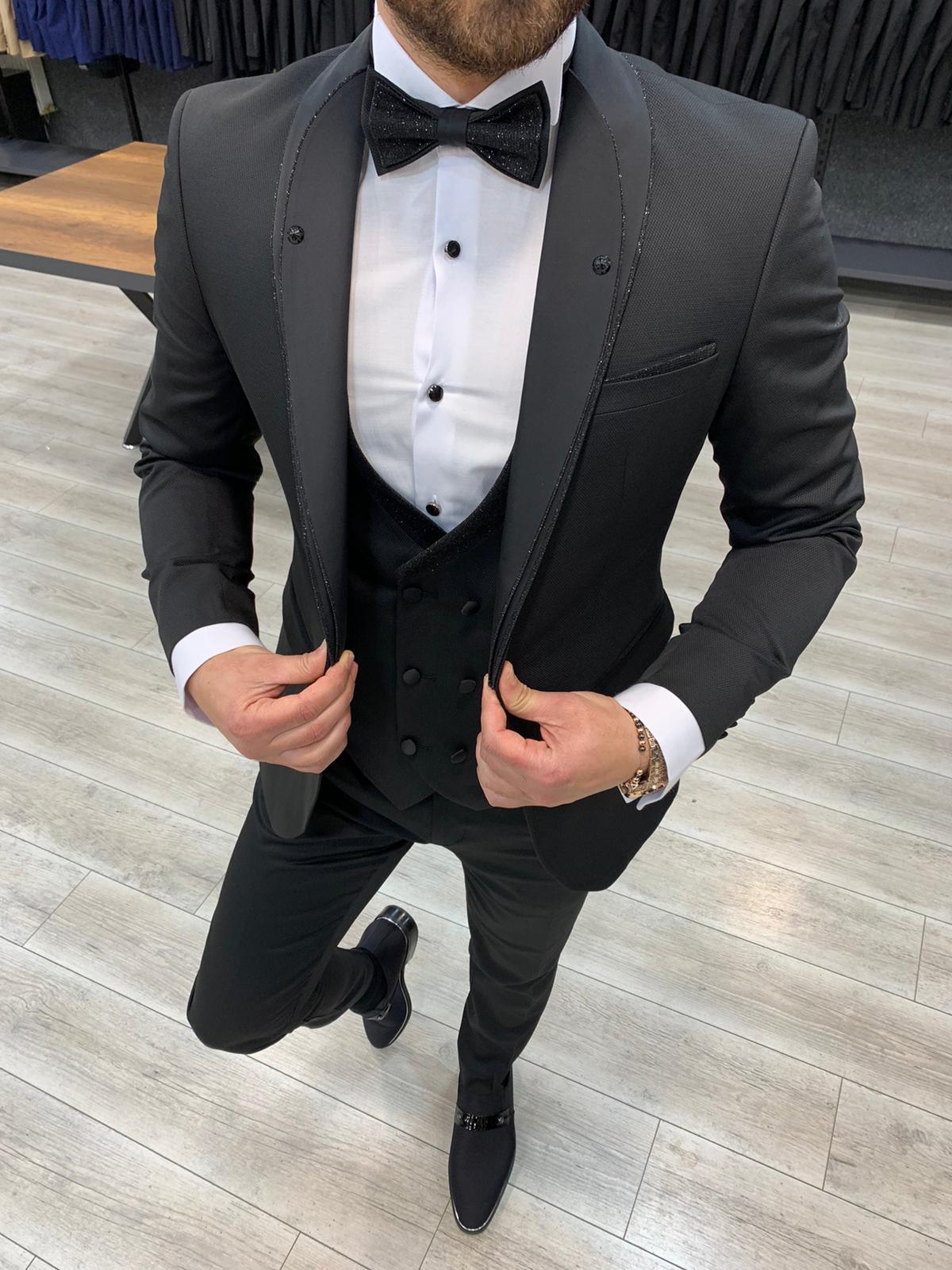 Aysoti Atkinson Black Slim Fit Button Shawl Lapel Tuxedo
