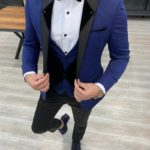 Aysoti Atkinson Blue Slim Fit Peak Lapel Tuxedo