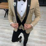 Aysoti Atkinson Gold Slim Fit Peak Lapel Tuxedo