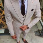 Aysoti Beige Slim Fit Pinstripe Suit