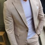 Aysoti Beige Slim Fit Pinstripe Two-Pieces Suit
