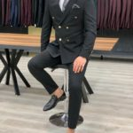 Aysoti Black Slim Fit Double Breasted Suit