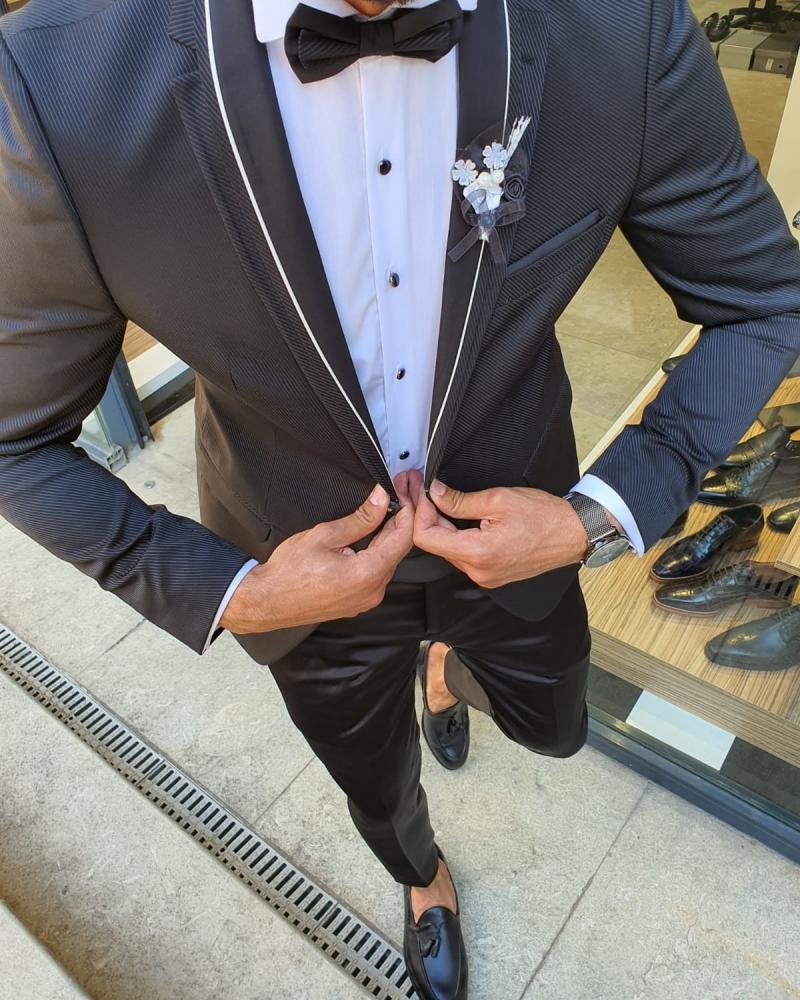 Aysoti Black Slim Fit Notch Lapel Tuxedo