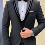 Aysoti Black Slim Fit Peak Lapel Tuxedo
