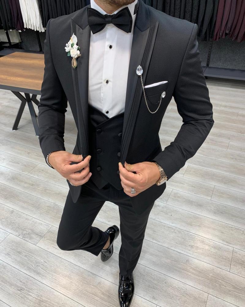 Aysoti Black Slim Fit Peak Lapel Tuxedo