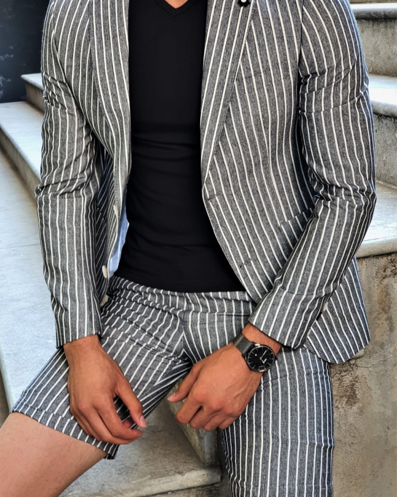 Aysoti Black Slim Fit Striped Suit