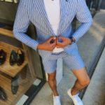 Aysoti Blue Slim Fit Striped Suit