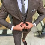 Aysoti Brown Slim Fit Patterned Suit