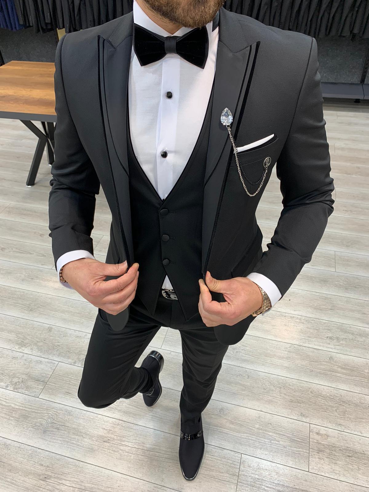 Aysoti Frances Black Slim Fit Peak Lapel Tuxedo