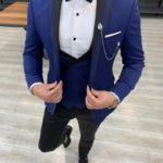 Aysoti Frances Blue Slim Fit Peak Lapel Tuxedo