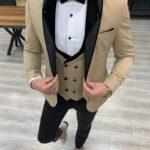 Aysoti Frances Gold Slim Fit Shawl Lapel Tuxedo