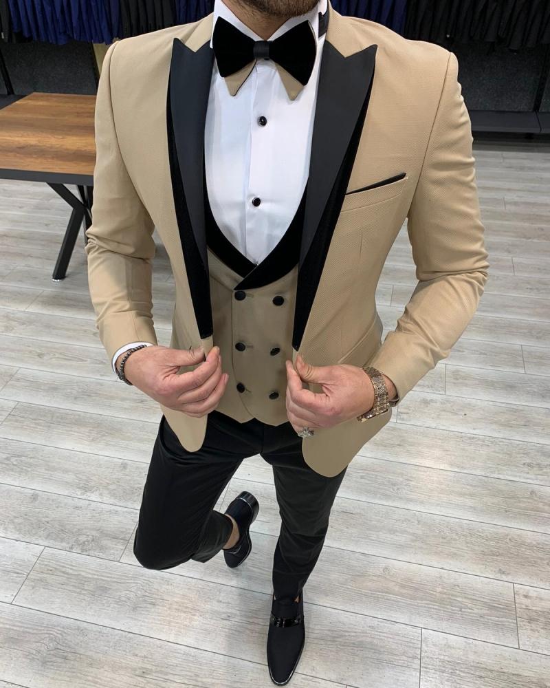 Aysoti Frances Gold Slim Fit Velvet Peak Lapel Tuxedo