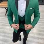 Aysoti Frances Green Slim Fit Shawl Lapel Tuxedo