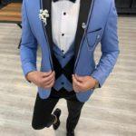 Aysoti Frances Ice Blue Slim Fit Peak Lapel Tuxedo