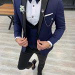 Aysoti Frances Navy Blue Slim Fit Peak Lapel Tuxedo