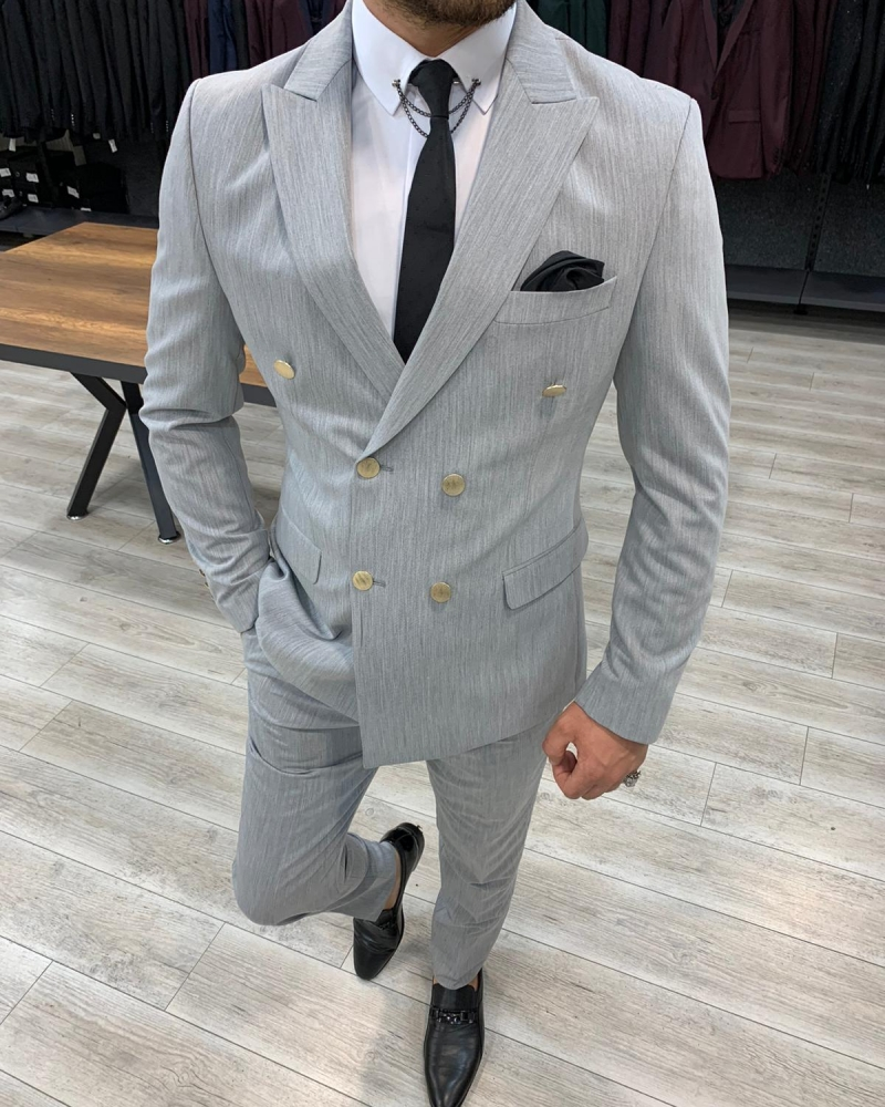Aysoti Gray Slim Fit Double Breasted Suit