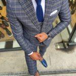 Aysoti Gray Slim Fit Plaid Suit