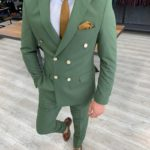 Aysoti Green Slim Fit Double Breasted Suit