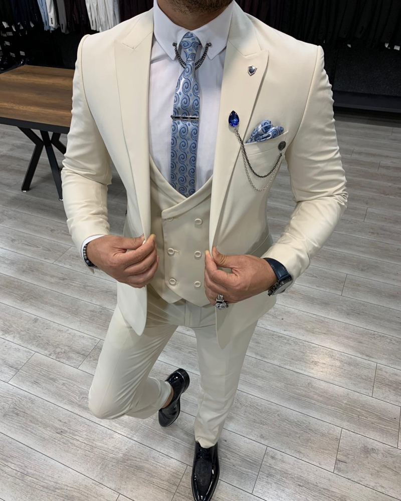 Aysoti Laval Cream Slim Fit Wool Suit