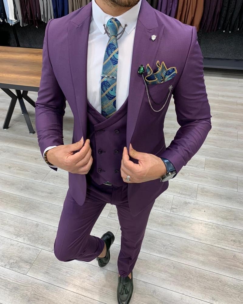 Aysoti Laval Purple Slim Fit Wool Suit