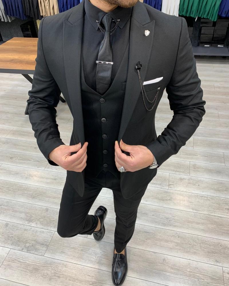Aysoti Laval Black Slim Fit Suit