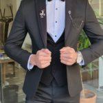 Aysoti Manley Black Slim Fit Peak Lapel Tuxedo