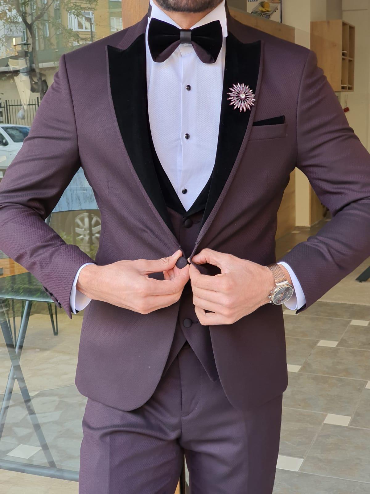Aysoti Manley Burgundy Slim Fit Peak Lapel Tuxedo