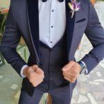 Aysoti Manley Navy Blue Slim Fit Peak Lapel Tuxedo