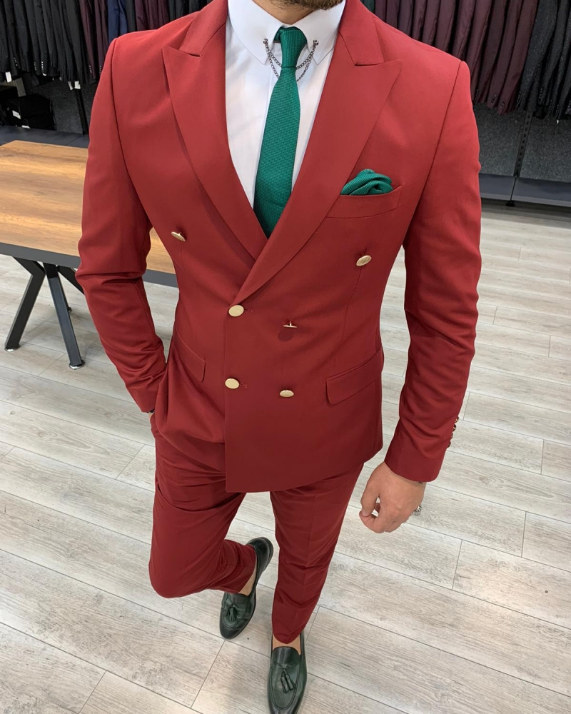 Aysoti Maroon Slim Fit Double Breasted Suit