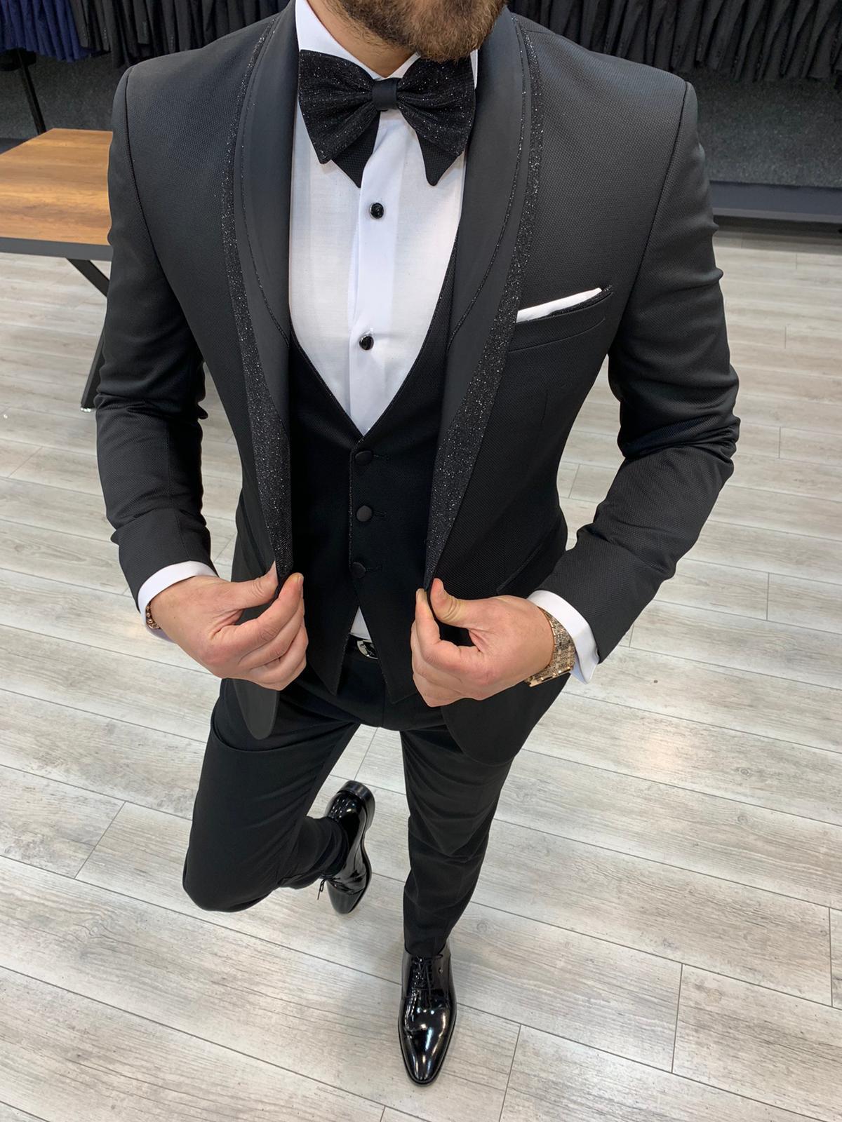 Aysoti Matsand Black Slim Fit Shawl Lapel Tuxedo