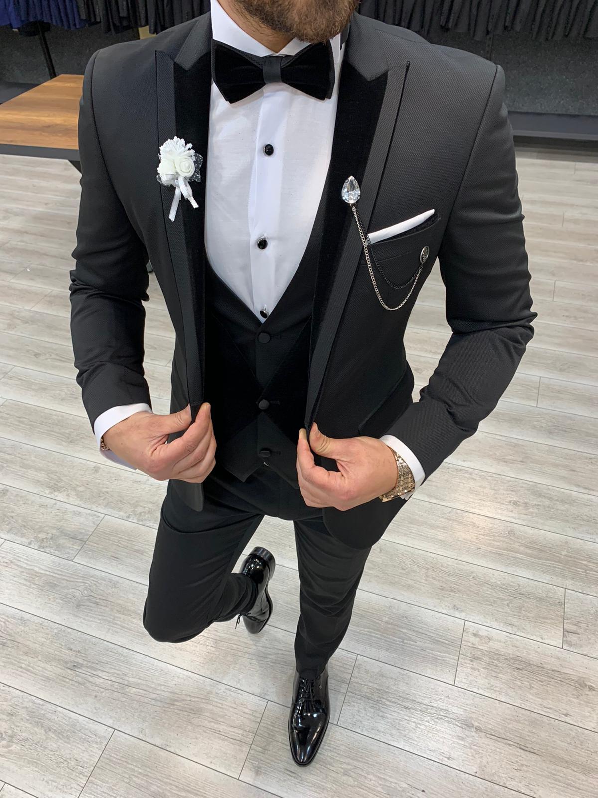 Aysoti Matsand Black Slim Fit Velvet Peak Lapel Tuxedo