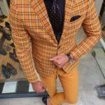 Aysoti Mustard Slim Fit Plaid Suit