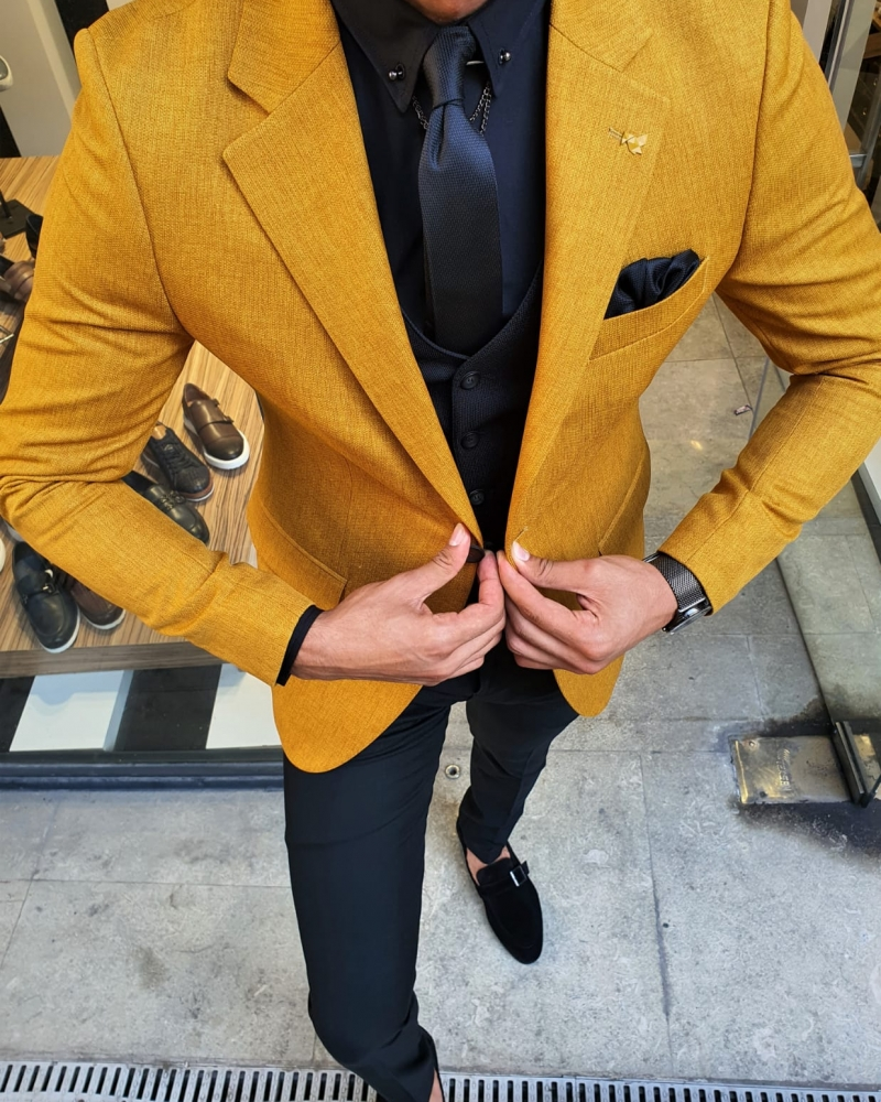 Aysoti Mustard Slim Fit Suit