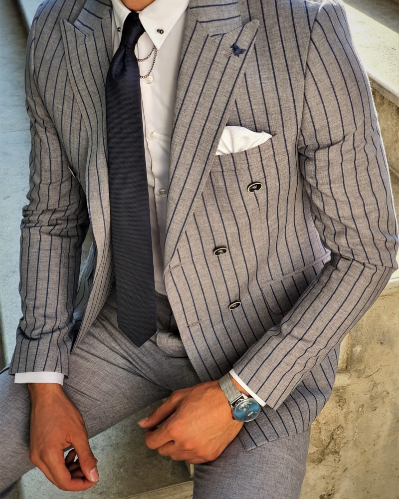 Aysoti Gray Slim Fit Pinstripe Double Breasted Suit