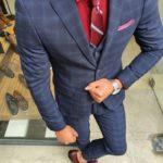 Aysoti Navy Blue Slim Fit Plaid Suit