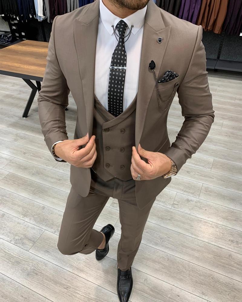 Aysoti Pelion Brown Slim Fit Wool Suit