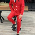 Aysoti Red Slim Fit Double Breasted Suit