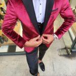 Aysoti Red Slim Fit Peak Lapel Velvet Tuxedo