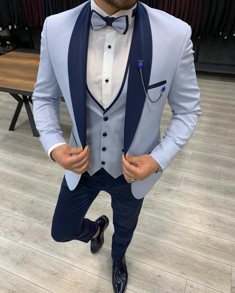 Aysoti Sky Blue Slim Fit Shawl Lapel Tuxedo