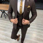 Aysoti Tegol Coffee Slim Fit Wool Suit