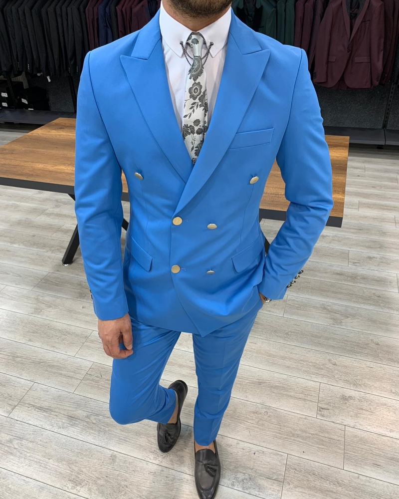 Aysoti Turquoise Slim Fit Double Breasted Suit