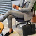 Aysoti Verdak Gray Slim Fit Pinstripe Double Breasted Suit