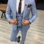 Aysoti Tegol Sky Blue Slim Fit Wool Suit