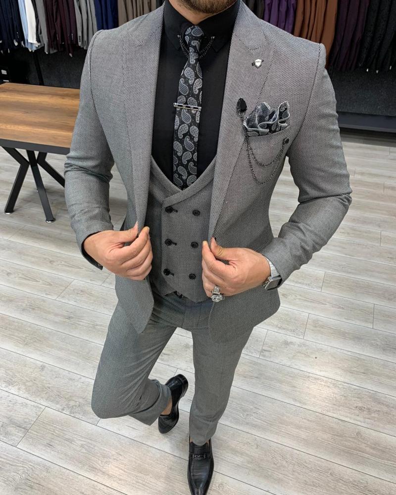 Aysoti Vermut Gray Slim Fit Wool Suit