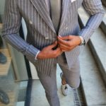 Aysoti White Slim Fit Pinstripe Double Breasted Suit